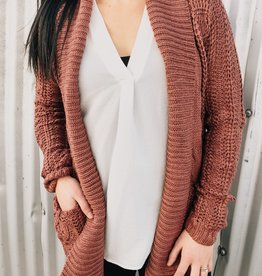 Open Front Cable Knit Cardi