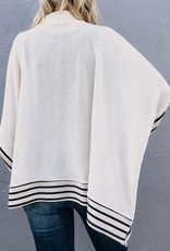 Solid Poncho Top With Stripes