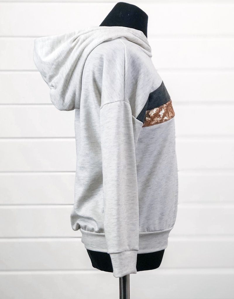 Girls Sequin Striped Hoodie