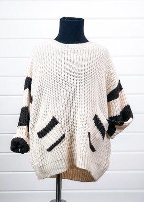 Stripe Sleeve Crew-Neck Sweater