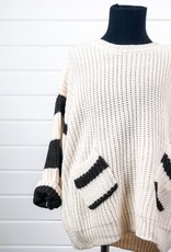 Stripe Sleeve Crew-Neck Sweater