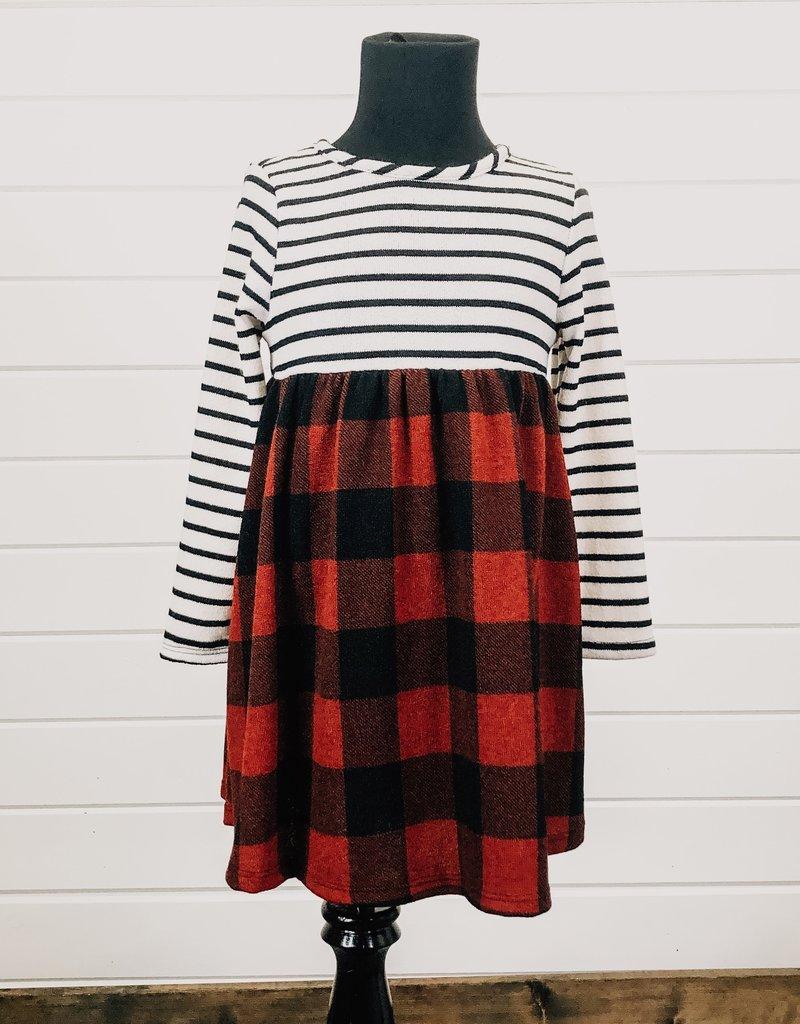 Girls Striped Plaid Dress