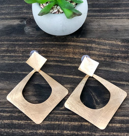 Scratched Square Earrings