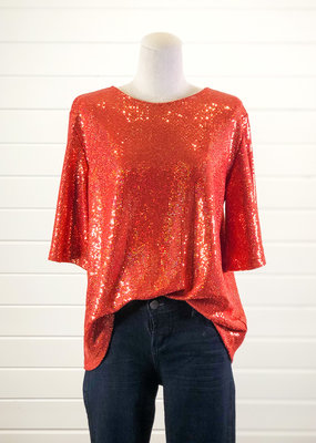 Round Neck Bell Sleeves Sequin Top