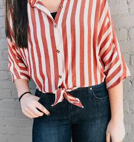 Front Tie Stripe Shirt