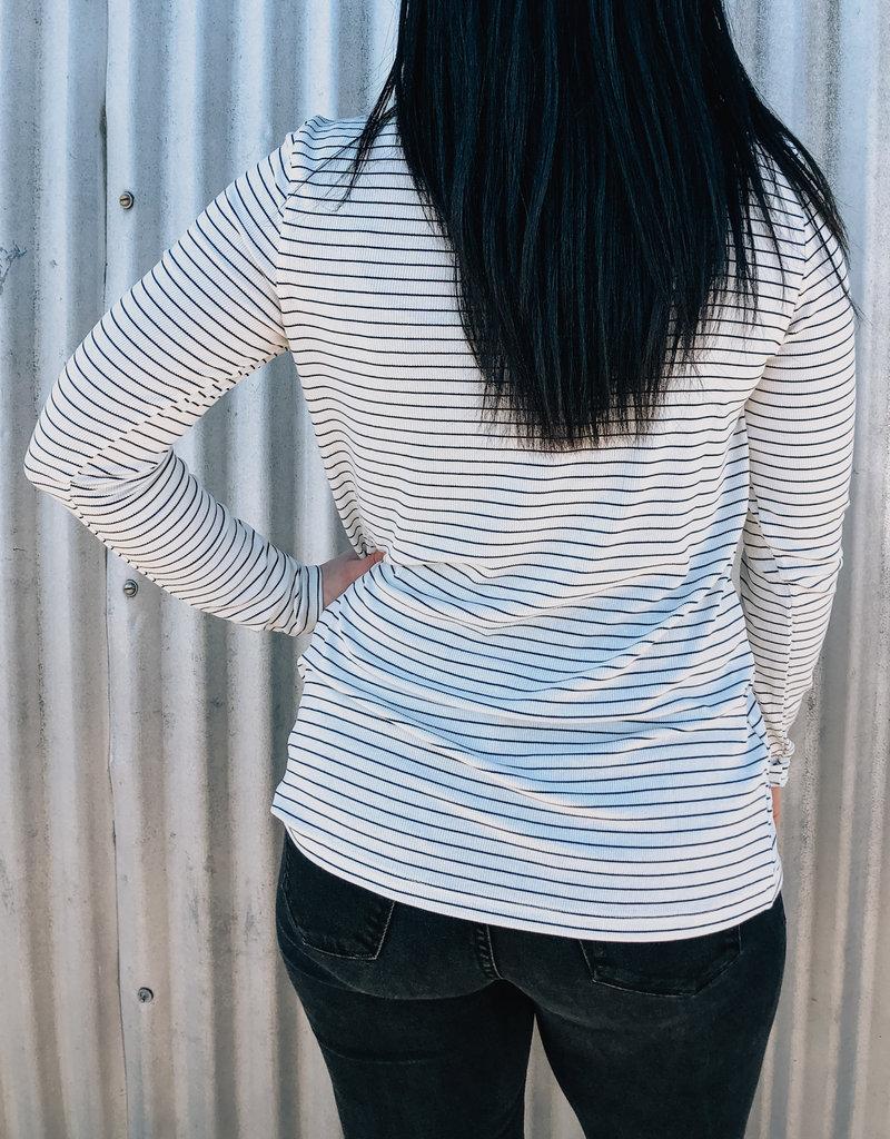 Button Stripe V-Neck Top