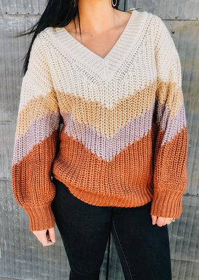 509 Broadway Stripe V-Neck Knit Sweater