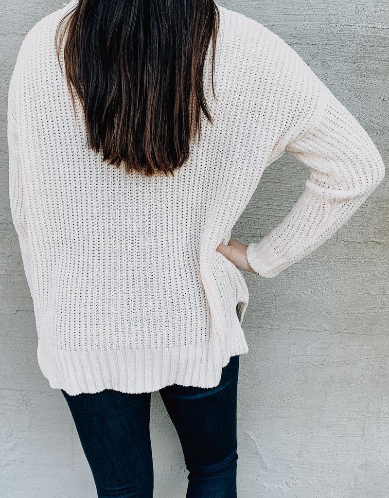 Ribbed Side Slit Sweater