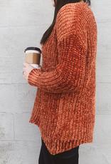 Chenille Knit Scallop Hem Sweater