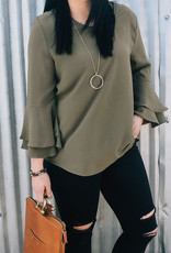 509 Broadway Long Double Bell Sleeve Woven Top
