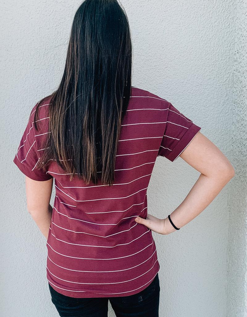 V-Neck Stripe Top With Pocket