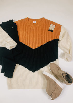 Oversized V Shape Color Block Sweater