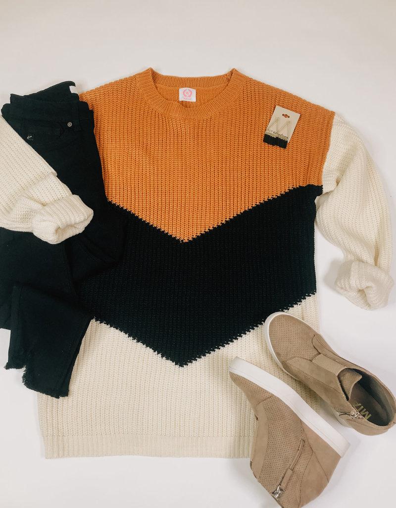 Oversized V Shape Color Block Sweater