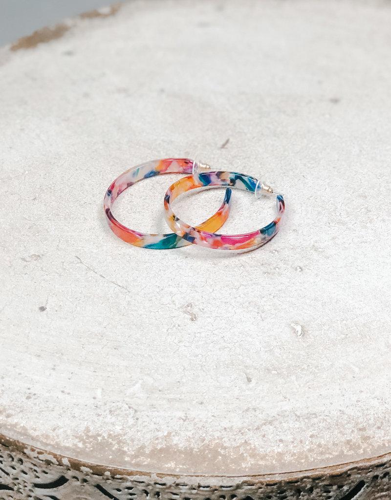 Kenze Penne Acrylic Open Hoop Earring