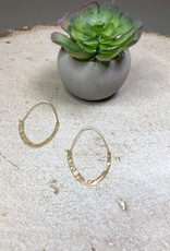 Kenze Penne Narrow Oval Hammered Hoop Earring