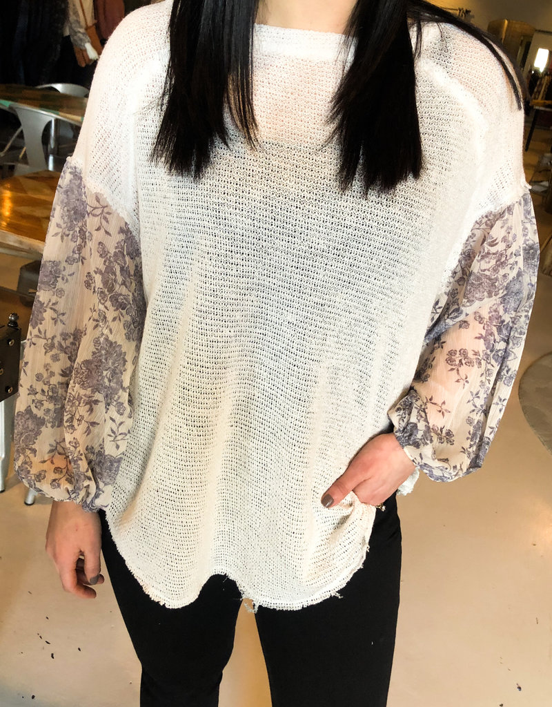 Cream top with Detail Sleeve