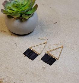 Kenze Penne Triangle Wood Tassel Earring Black
