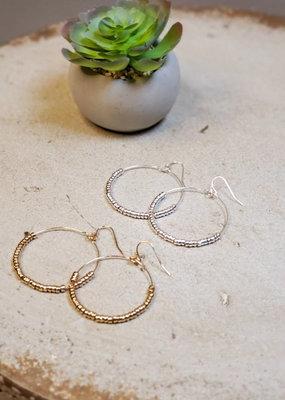 Small Bead Circle Earrings