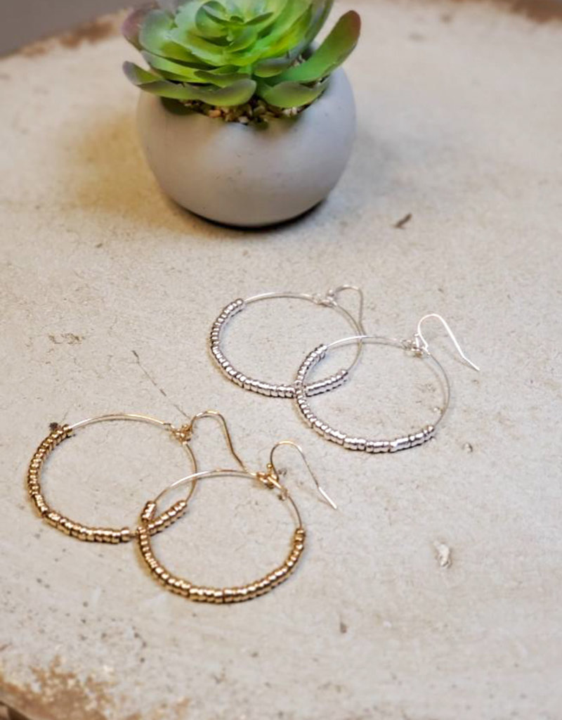 Small Bead Circle Earrings