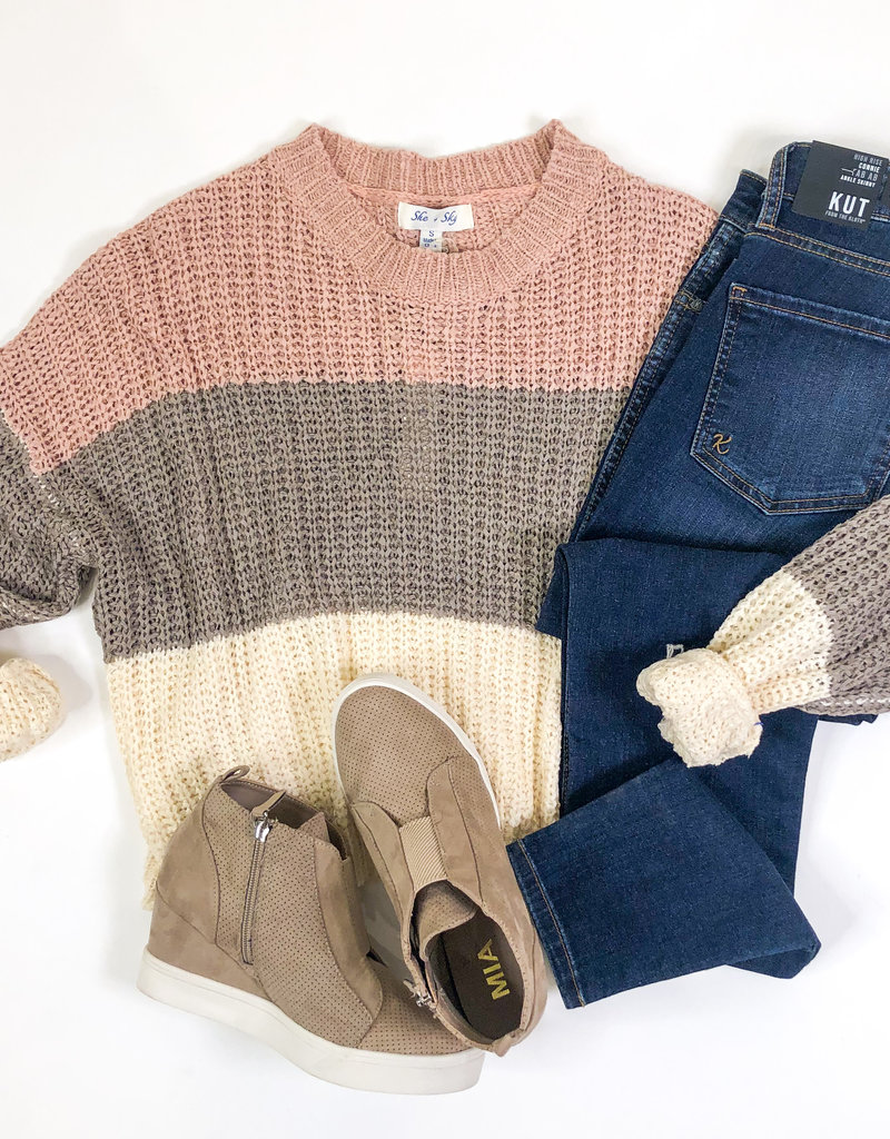 509 Broadway Long Sleeve Color Block Knit Sweater