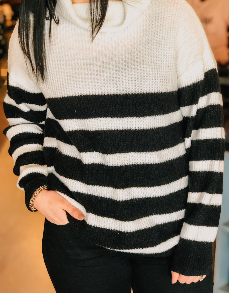 509 Broadway Stripe Turtle Neck Sweater
