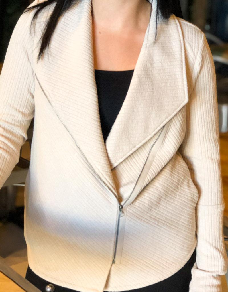 Ribbed Shawl Collar Jacket