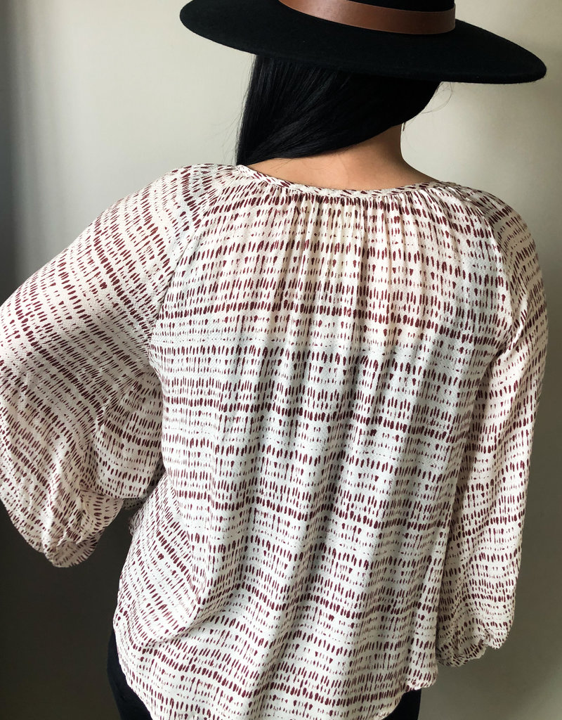 509 Broadway Cinched Balloon Sleeve Print Top