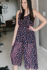 509 Broadway Wide Leg Woven Printed Jumpsuit