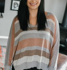 509 Broadway Striped Side Slit Sweater