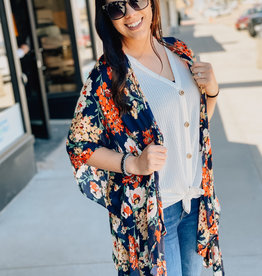 509 Broadway Floral Bell Sleeve Kimono