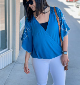 Wrap Front Embroidered Sleeve Top