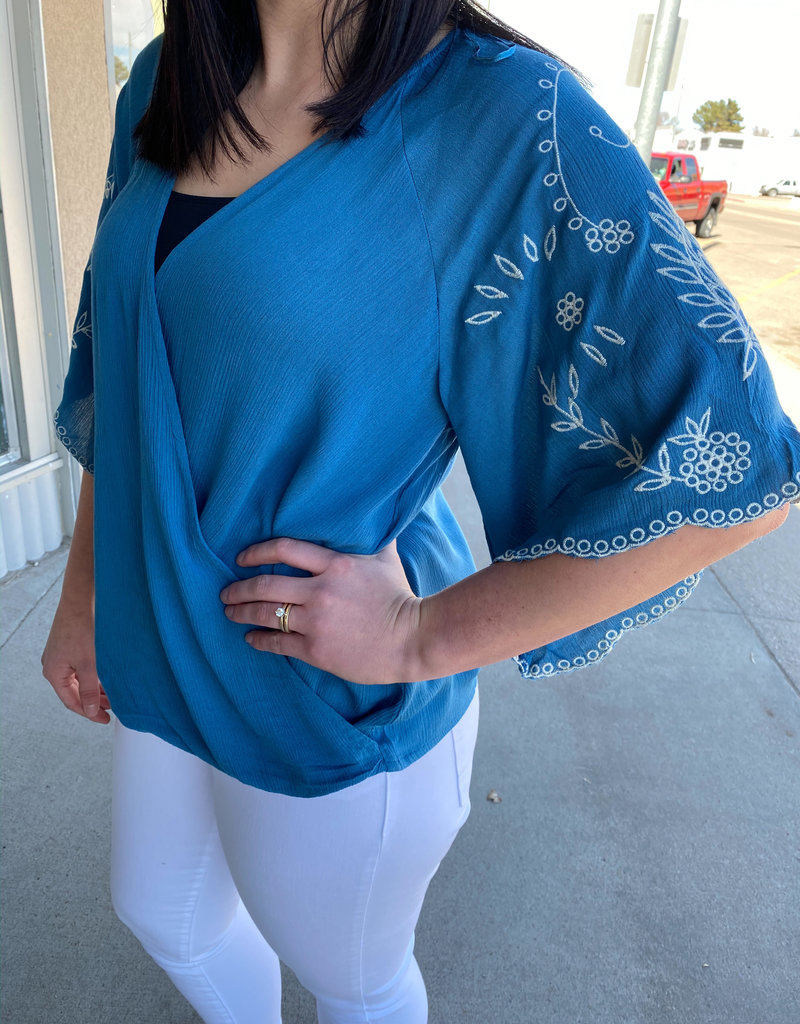 509 Broadway Wrap Front Embroidered Sleeve Top