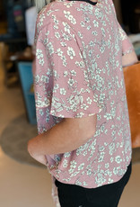 509 Broadway Printed Short Sleeve Button Down Tie Front Top