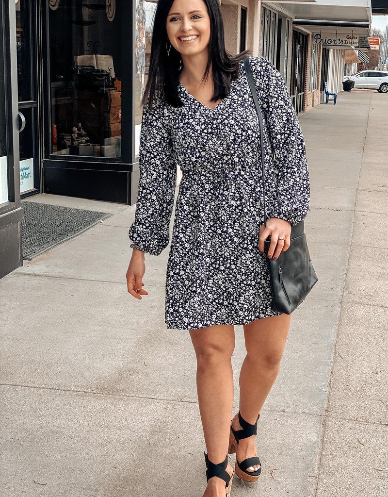 509 Broadway Woven Printed Long Sleeve Dress