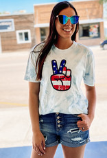 509 Broadway American Flag Peace Sign Tie Dye Tee