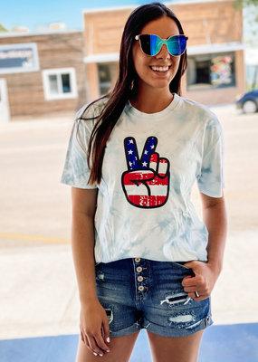 509 Broadway American Flag Peace Sign Tie Dye Tee