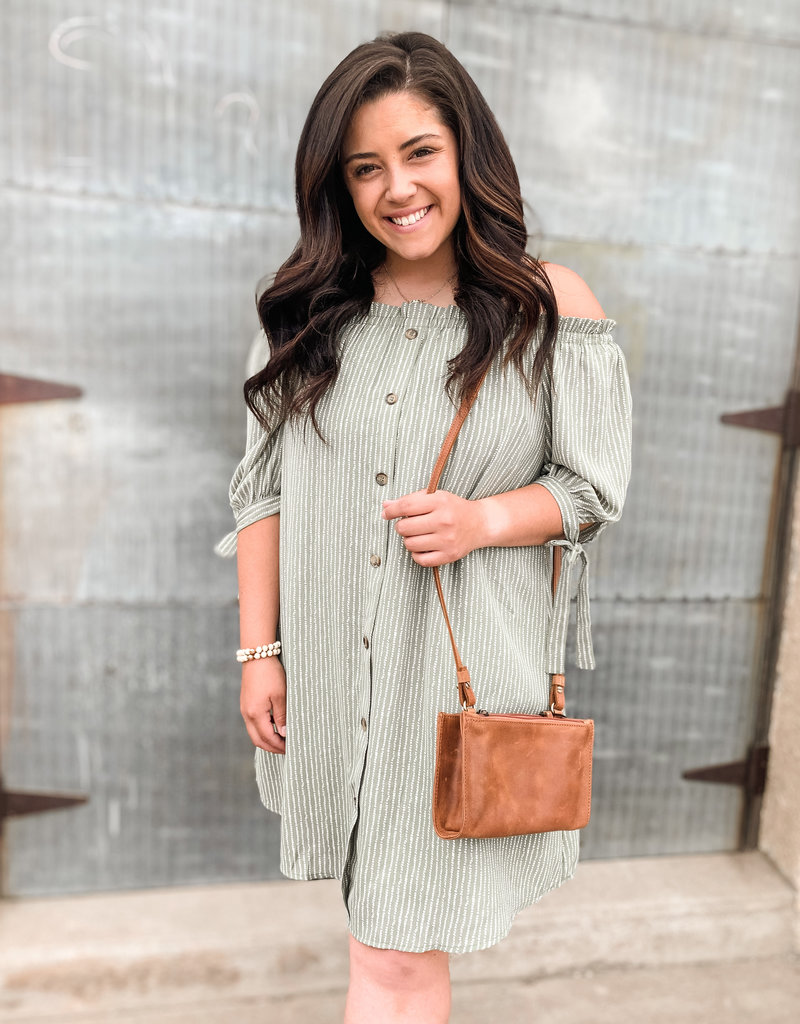 Off The Shoulder Button Down Dress