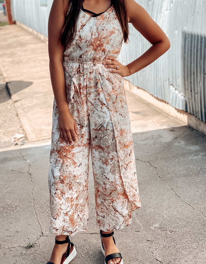 Sleeveless Woven Printed Jumpsuit