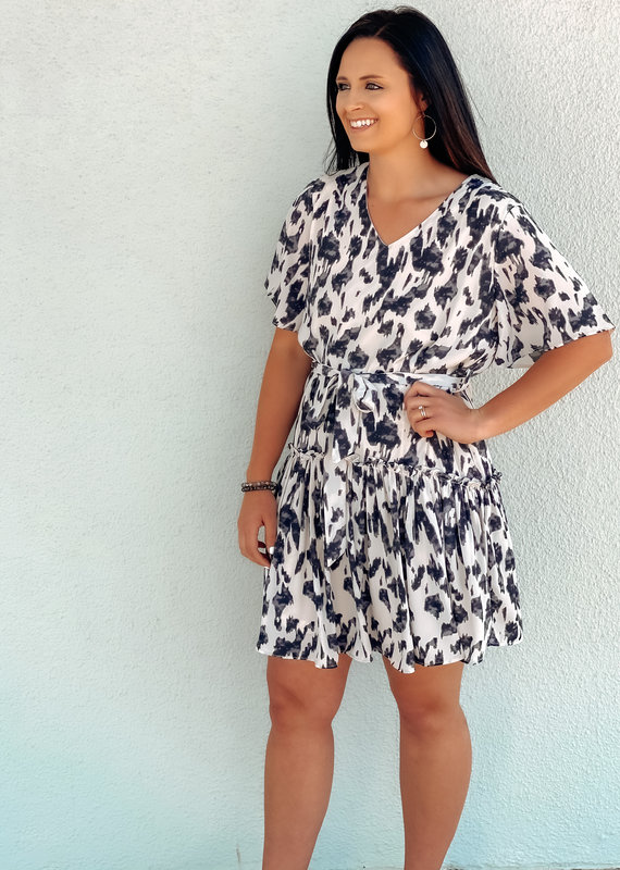 Half Sleeve Button Down Woven Printed Dress