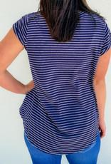 509 Broadway Flowy Striped V-Neck Cuffed Sleeves |Navy|