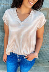 509 Broadway Flowy Striped V-Neck Cuffed Sleeves |Taupe|