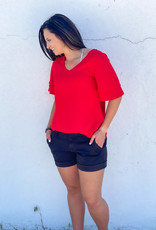 509 Broadway Woven V-Neck Bell Sleeve Top |Red|