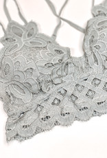 509 Broadway Lace Detail Bralette |Light Grey|