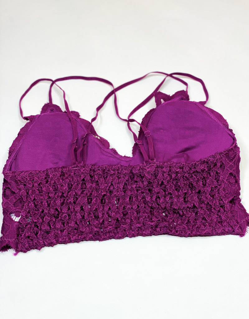 509 Broadway Lace Detail Bralette |Plum|