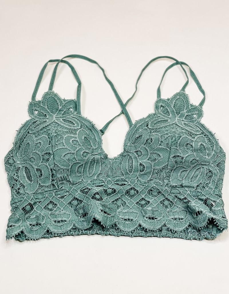 509 Broadway Lace Detail Bralette |Teal|