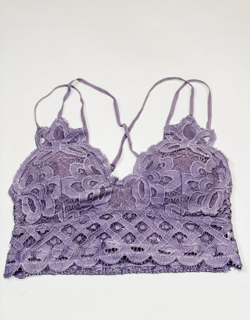 509 Broadway Lace Detail Bralette |Purple Ash|
