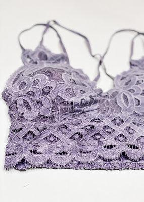 509 Broadway Lace Detail Bralette |Purple Ash|