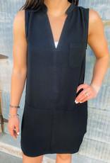 V-Neck Pocket Shift Dress