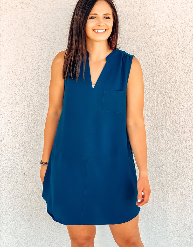V-Neck Pocket Shift Dress
