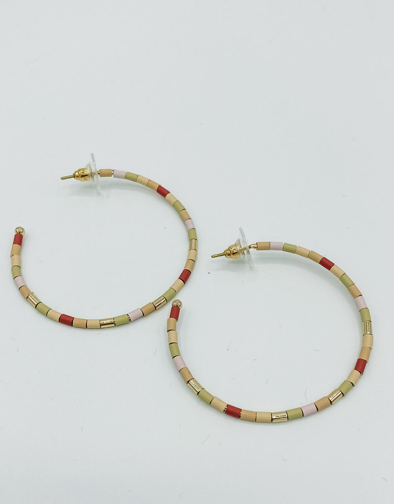509 Broadway Colorful Beaded Hoop